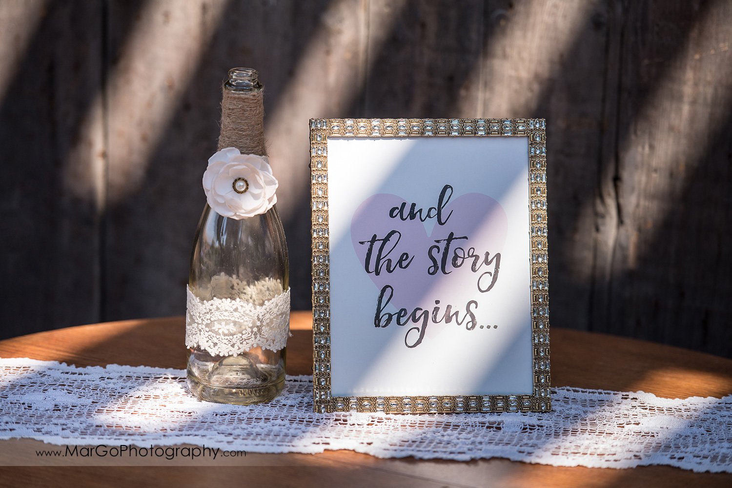 white lace wedding decoration and the story begins at Taber Ranch Vineyards