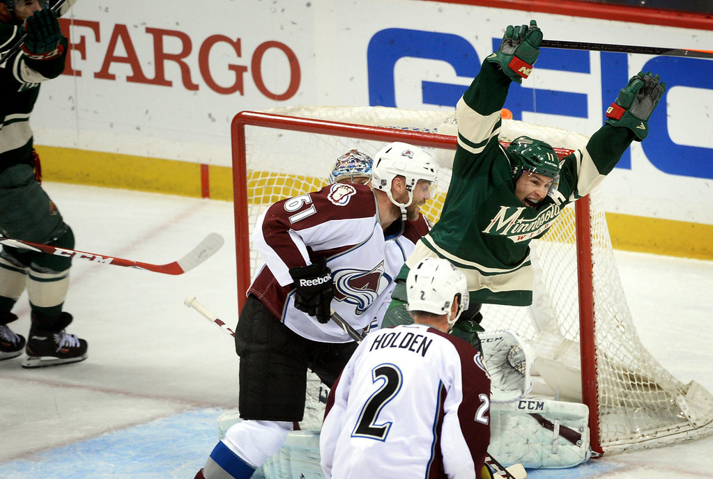 . The Minnesota Wild\'s Zach Parise celebrates teammate Mikael Granlund\'s goal during the first period.  (Pioneer Press: Sherri LaRose-Chiglo)