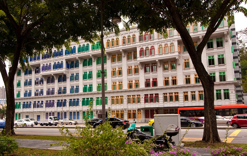 Colorful colonial building