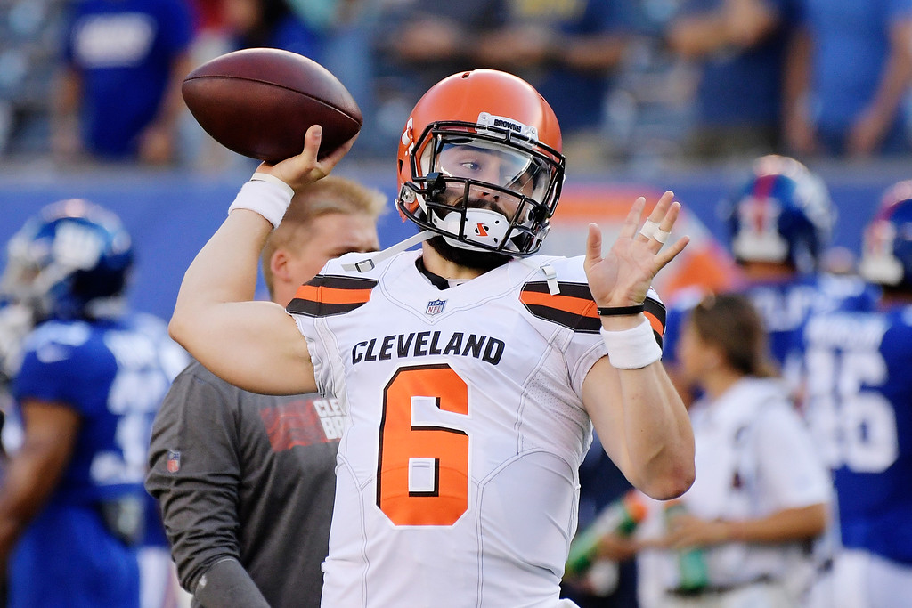 . Cleveland Browns quarterback Baker Mayfield (6) throws a pass as he warms up before a preseason NFL football game against the New York Giants Thursday, Aug. 9, 2018, in East Rutherford, N.J. (AP Photo/Bill Kostroun)