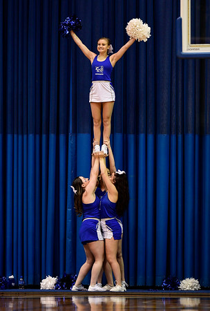 1/19/2019 Mike Orazzi | Staff CCSU Cheerleaders during Saturday's Men's basketball game with Saint Francis University in New Britain.
