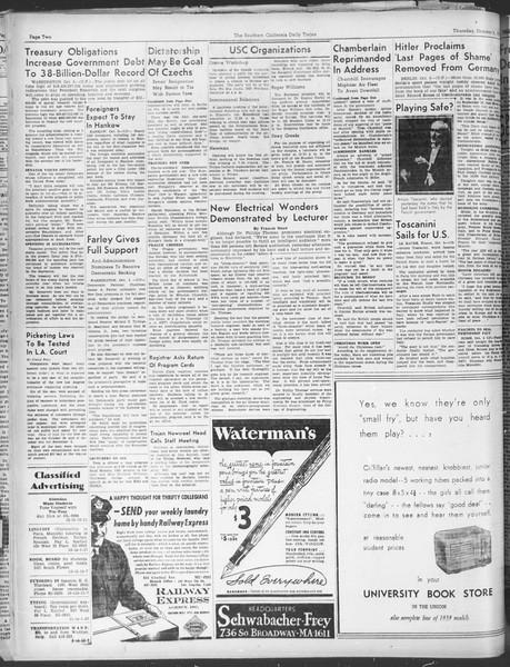 Daily Trojan, Vol. 30, No. 14, October 06, 1938