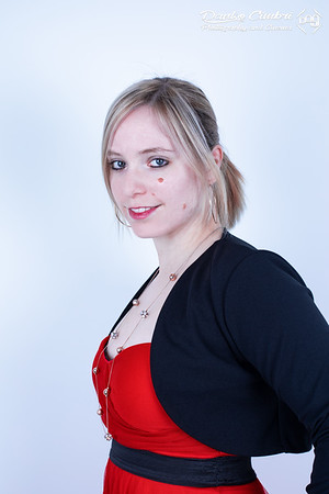 Fabienne in Red & Black Dress