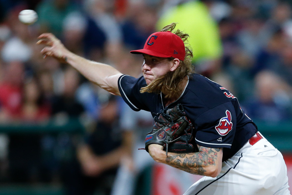 . Cleveland Indians starting pitcher Mike Clevinger delivers against the Minnesota Twins during the fifth inning in a baseball game, Wednesday, Sept. 27, 2017, in Cleveland. (AP Photo/Ron Schwane)
