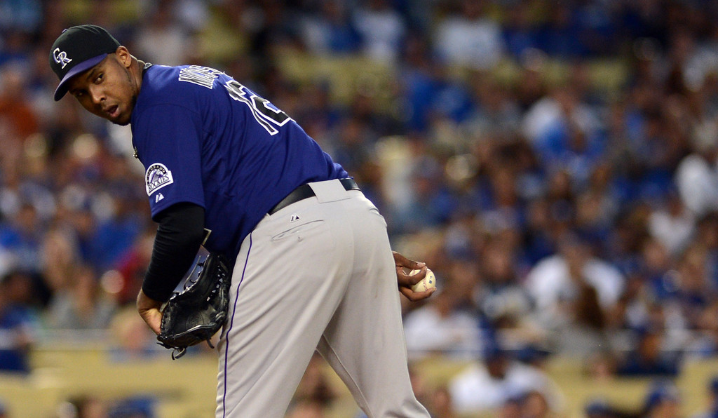 . Rockies\' pitcher Juan Nicasio #12 during their game against the Dodgers at Dodgers Stadium Saturday, September 28, 2013. (Photo by Hans Gutknecht/Los Angeles Daily News)