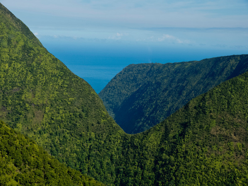 Looking out of the Waipio Valley toward the Pacific,