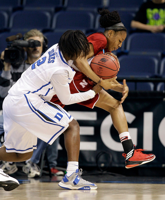 . Duke guard Alexis Jones (2) battles for the ball with Nebraska guard Tear\'a Laudermill (1) during the second half of a regional semifinal game of the women\'s NCAA college basketball tournament Sunday, March 31, 2013, in Norfolk, Va. Duke won 53-45. (AP Photo/Steve Helber)