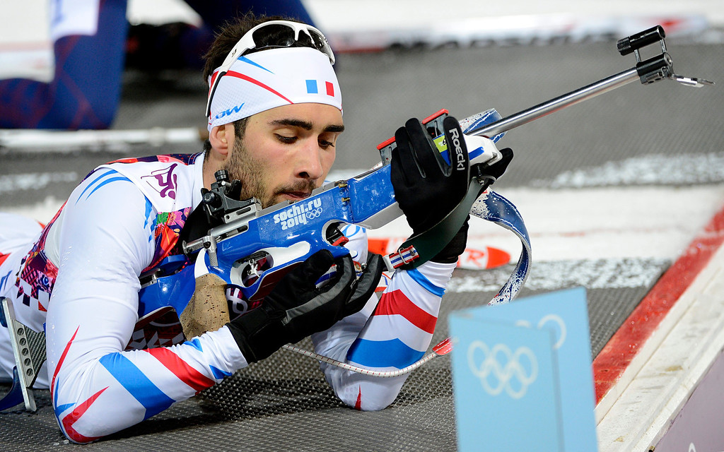 . Martin Fourcade of France in action during the Men\'s Biathlon 12.5km Pursuit competition at the Laura Cross Biathlon Center during the Sochi 2014 Olympic Games.  EPA/FILIP SINGER