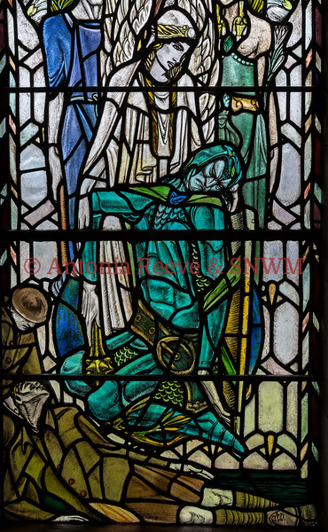 Detail of Shrine window 4 Peace entroned with the dead figure of War at her feet