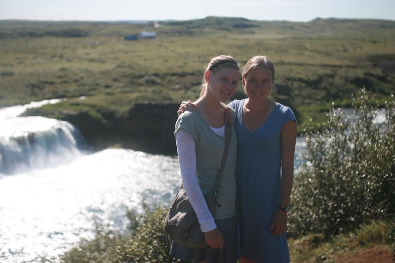 Aunika & Kjirsten at Faxi waterfall.