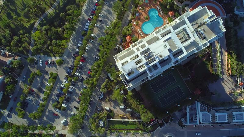 Aerial drone footage South Pointe Park Miami Beach FL 4k overhead shot