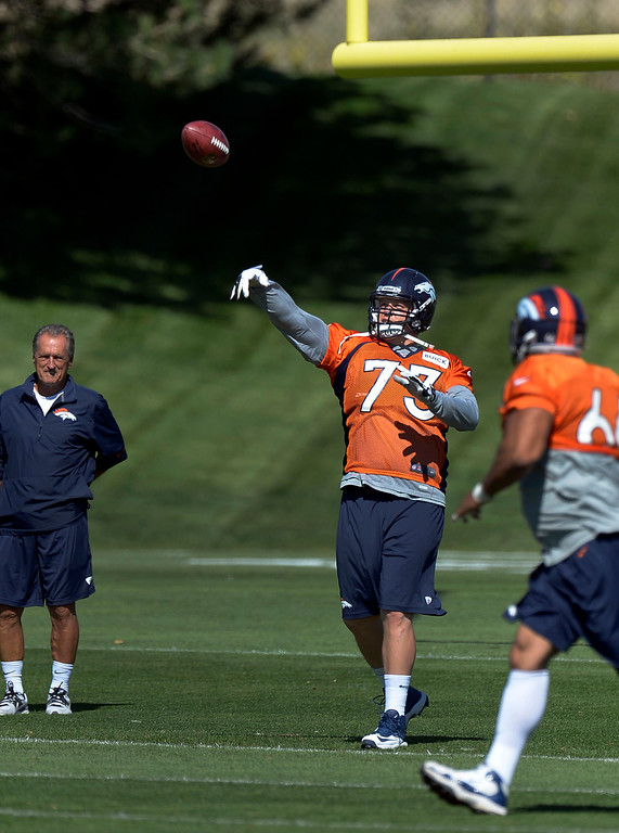 . Denver Broncos guard Chris Kuper (73) throws a pass to fellow lineman in drills during practice  September 3, 2013 at Dove Valley. (Photo by John Leyba/The Denver Post)