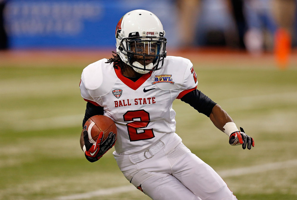. Receiver Jamill Smith #2 of the Ball State Cardinals returns a kick against the Central Florida Knights during the Beef \'O\' Brady\'s St Petersburg Bowl Game at Tropicana Field on December 21, 2012 in St Petersburg, Florida.  (Photo by J. Meric/Getty Images)