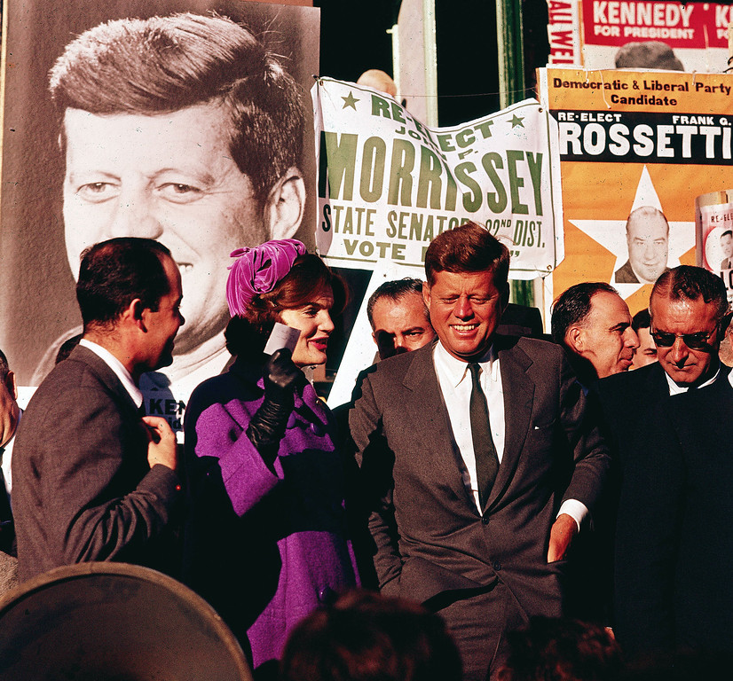 """. In this October 1960 file photo Sen. John F. Kennedy and his wife, Jacqueline Kennedy, campaign in New York. The Kennedy image, the \""""mystique\"""" that attracts tourists and historians alike, did not begin with his presidency and is in no danger of ending 50 years after his death. Its journey has been uneven, but resilient - a young and still-evolving politician whose name was sanctified by his assassination, upended by discoveries of womanizing, hidden health problems and political intrigue, and forgiven in numerous polls that place JFK among the most beloved of former presidents. (AP Photo)"""