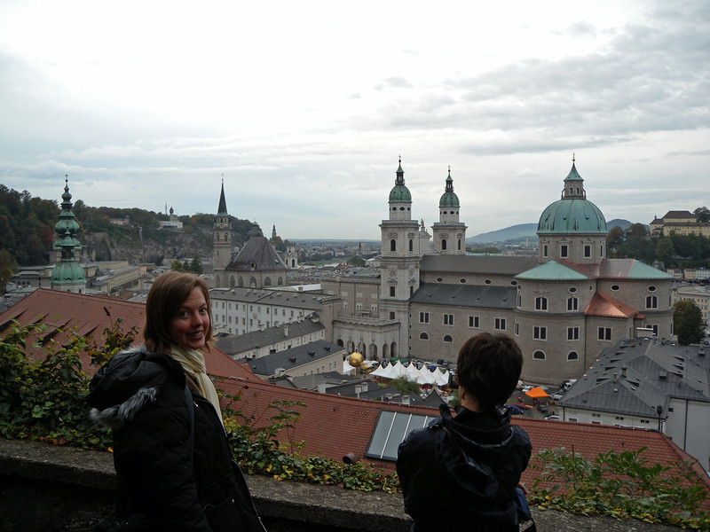 Salzburg is the town of Mozart. He was born here in 1756.