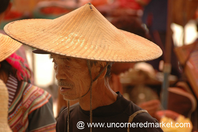 Hani Man in Wide-Brimmed Hat - Yuanyang, China
