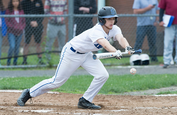05/29/19 Wesley Bunnell | Staff Southington defeated New Britain 4-3 in 11 innings on a walk off single by Billy Carr (17) in the continuation of a game suspended in the 10th inning due to rain on May 29th. Jacob DelMonte (2) with a sacrifice bunt to advance the runner to 2nd base.