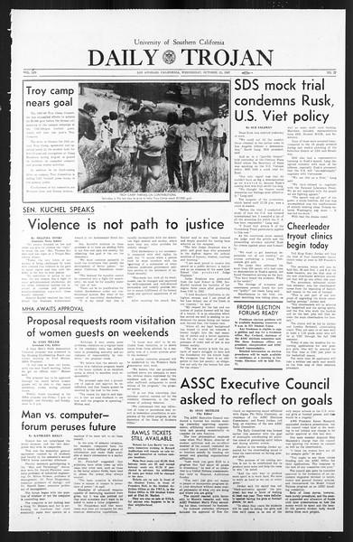 Daily Trojan, Vol. 59, No. 27, October 25, 1967