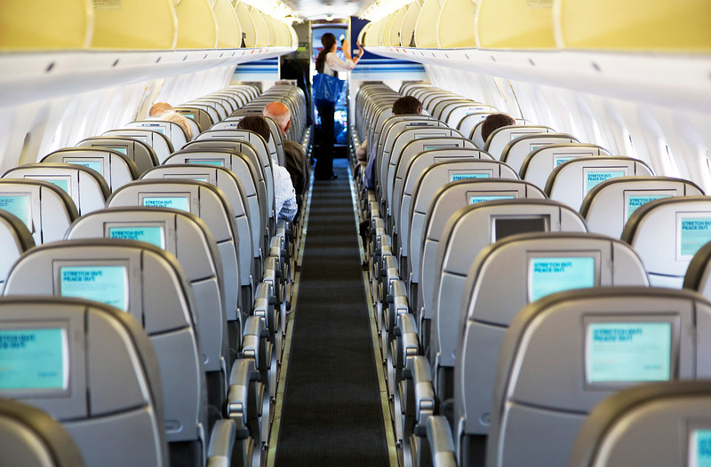 JetBlue's neat interior -- less crowded than other airlines.