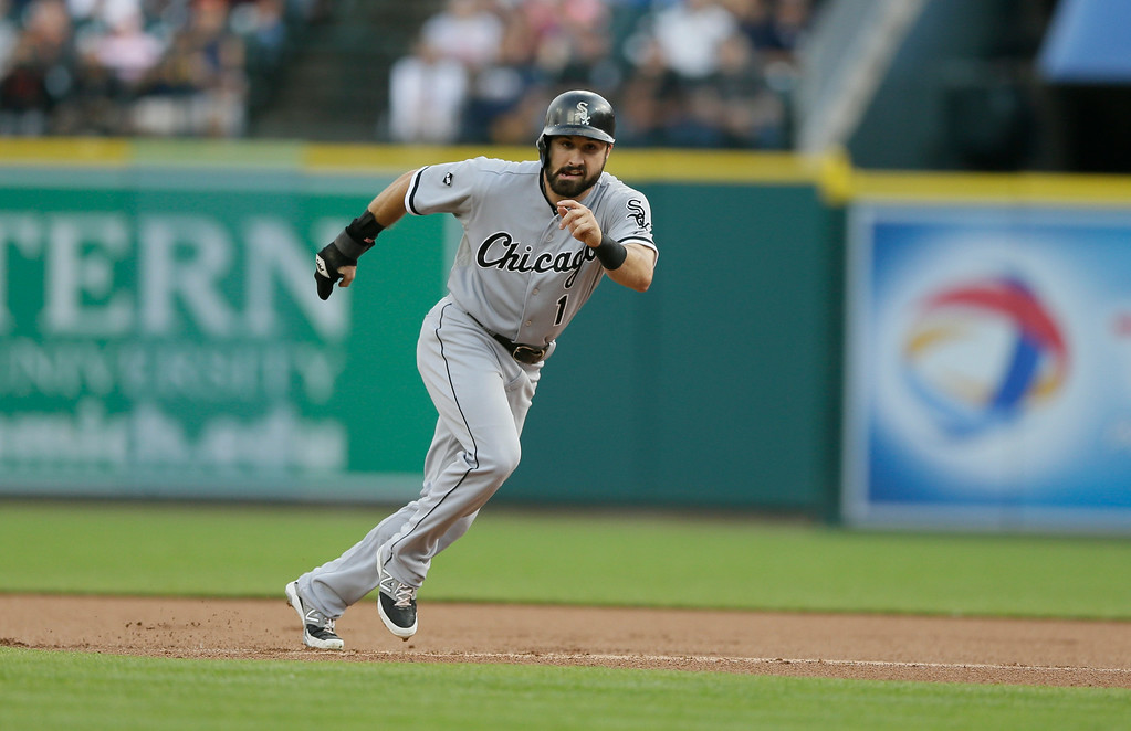 . Chicago White Sox\'s Adam Eaton heads back to first after leading off the bag during the first inning of a baseball game against the Detroit Tigers, Wednesday, July 30, 2014 in Detroit. (AP Photo/Carlos Osorio)