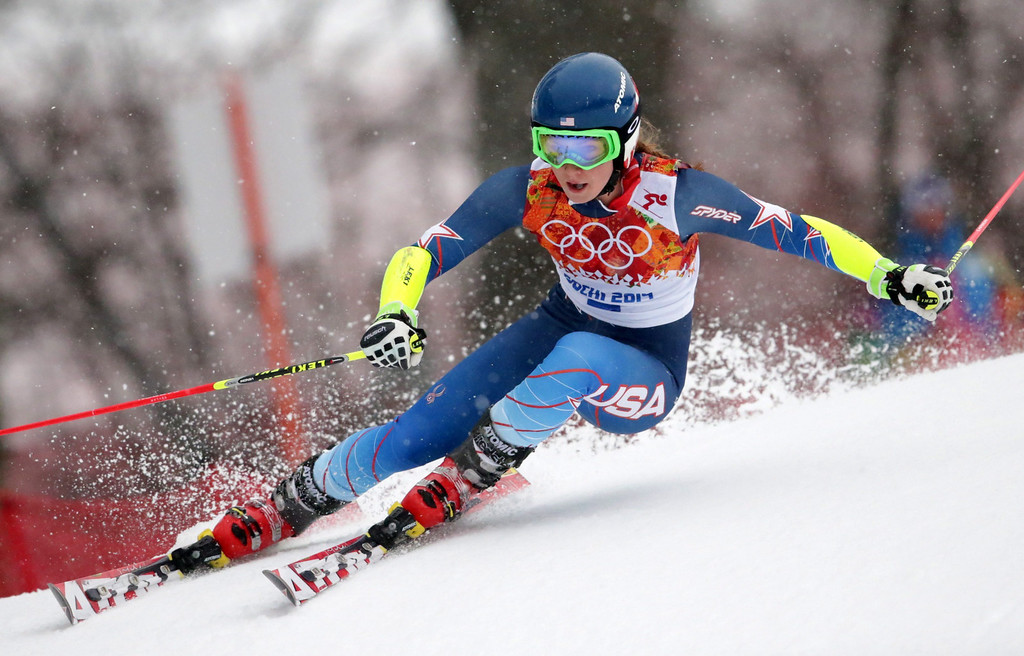 . Mikaela Shiffrin of the USA in action during the first run of the Women\'s Giant Slalom race at the Rosa Khutor Alpine Center during the Sochi 2014 Olympic Games, Krasnaya Polyana, Russia, 18 February 2014.  EPA/MICHAEL KAPPELER