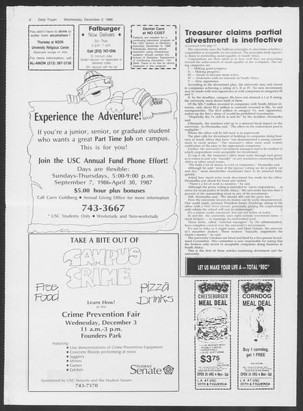 Daily Trojan, Vol. 102, No. 63, December 03, 1986