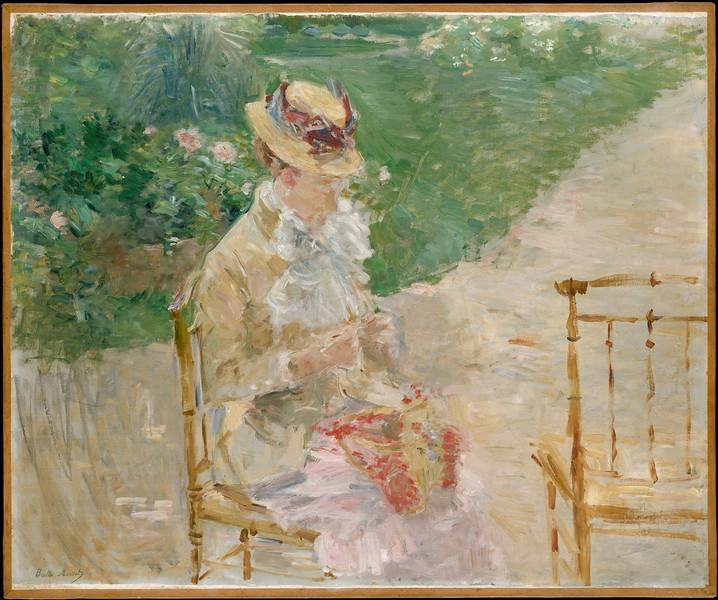 Berthe Morisot - Young Woman Knitting (oil painting) - Metropolitan Museum of Art