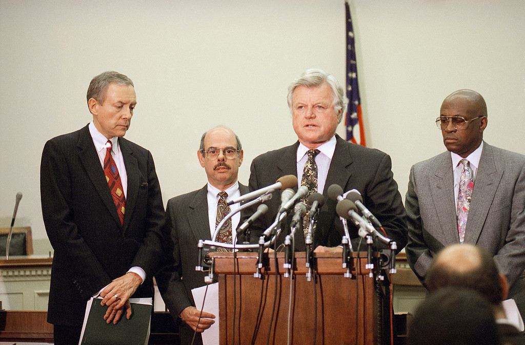 . Sen. Edward Kennedy, D-Mass., center, accompanied by Sen. Orrin Hatch, R-Utah, far left, and Rep. Henry Waxman, D-Calif., second from left, meet reporters on Capitol Hill to discuss rise in tuberculosis cases, Thursday, Oct. 7, 1993, Washington, D.C.  (AP Photo/Barry Thumma)