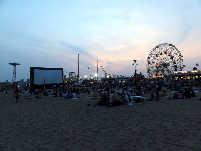"""The first Coney Island movie night - 7-11-11 (First screening was """"Saturday Night Fever"""""""
