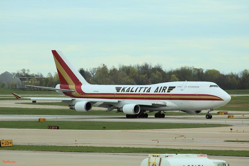 Cincinnati, Ohio,   KCVG 04/13/2019 Boeing 747-446(BCF) N744CK of Kalitta Air c/n 26353 Taking off on runway 27 as K4982 to Leipzig.  This work is licensed under a Creative Commons Attribution- NonCommercial 4.0 International License.