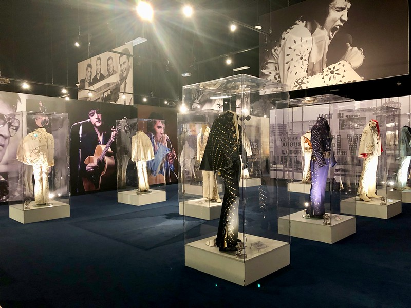 display of elvis costumes