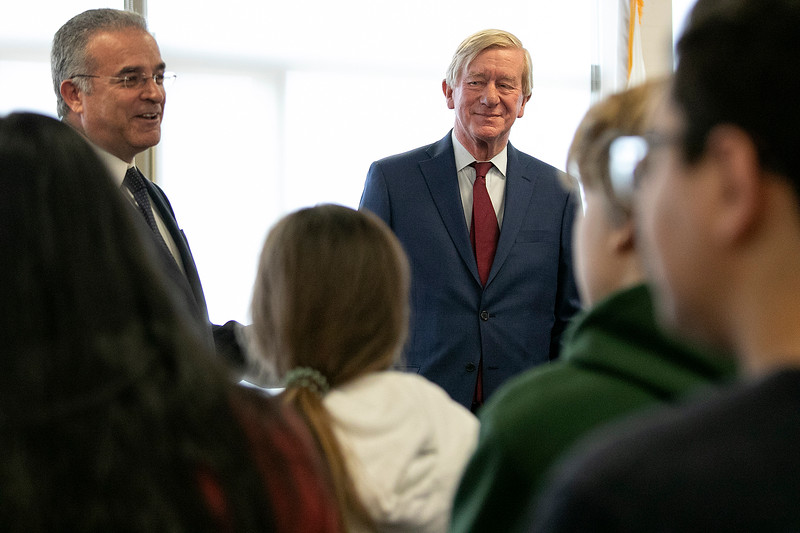 Former Gov. Bill Weld visited Leominster on Tuesday morning, Feb. 25, 2020. His first stop was to City Hall and then Center For Technical Education Innovation (CTEi) to take a tour and then speak to students in the the Media Center. Weld listens as Mayor Dean Mazzarella introduces him to the students in the Media Center. SENTINEL & ENTERPRISE/JOHN LOVE