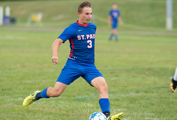 09/30/19 Wesley Bunnell | StaffrrSt. Paul boys soccer defeated Kennedy in a home game on Monday afternoon. Ethan Rembish (3).