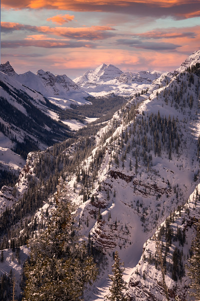 maroon Bells during a vibrant sunset