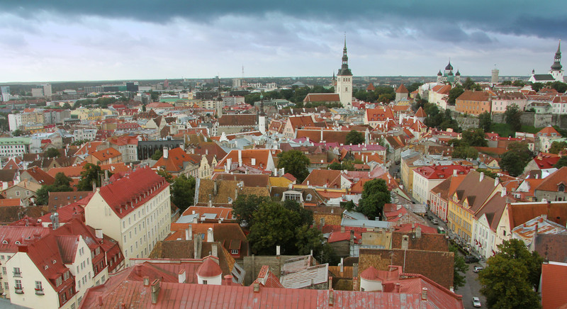Fabulous view of Old Town and Toompea Hill (on right) from the top of St. Olaf's Church -Tallinn, Estonia