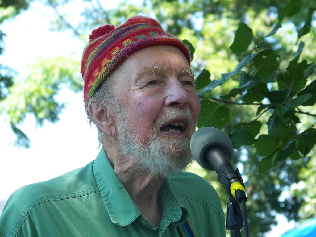 . Pete Seeger at the Beacon Riverside Park Fall Festival in 2012. William Marchetti photo.