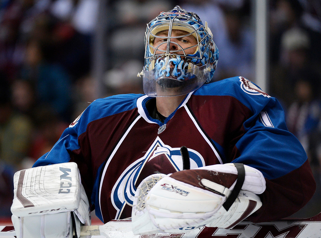 . Colorado Avalanche goalie Semyon Varlamov (1) waits for the action to restart during the second period.   (Photo by John Leyba/The Denver Post)