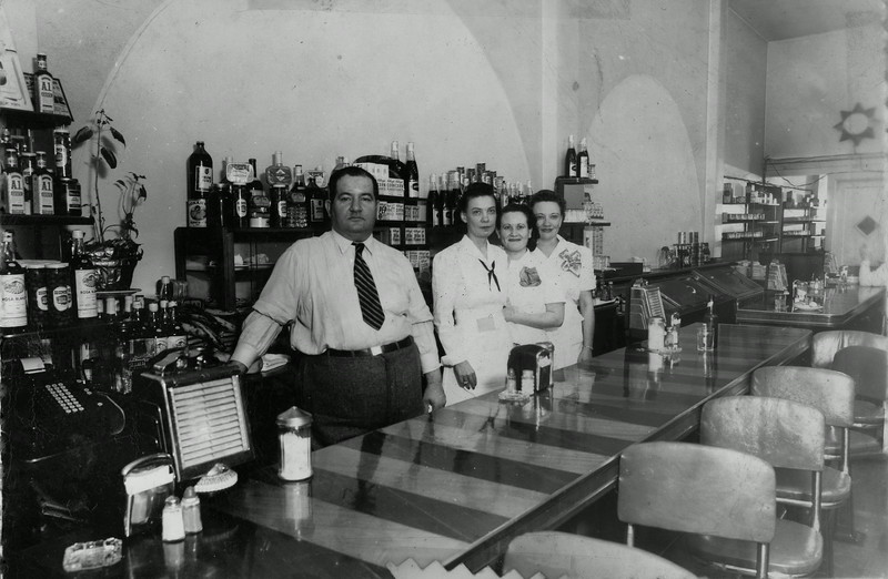 Myrtle Lee Wasson,  3rd from left, and Jessie Mae Howell, 4th from left at Massey's Restaurant, Fort Worth Texas.