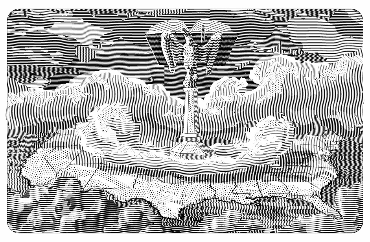 Illustration for a review of the book American Grace (a survey of religious practice in America)