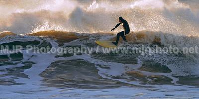 Surfing, Gilgo Beach, NY, (12-24-07)