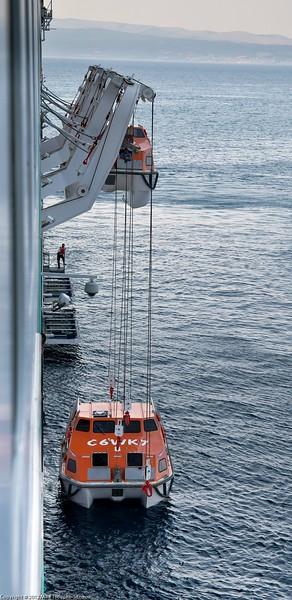 Split. Tender boats prepared for disembarkation