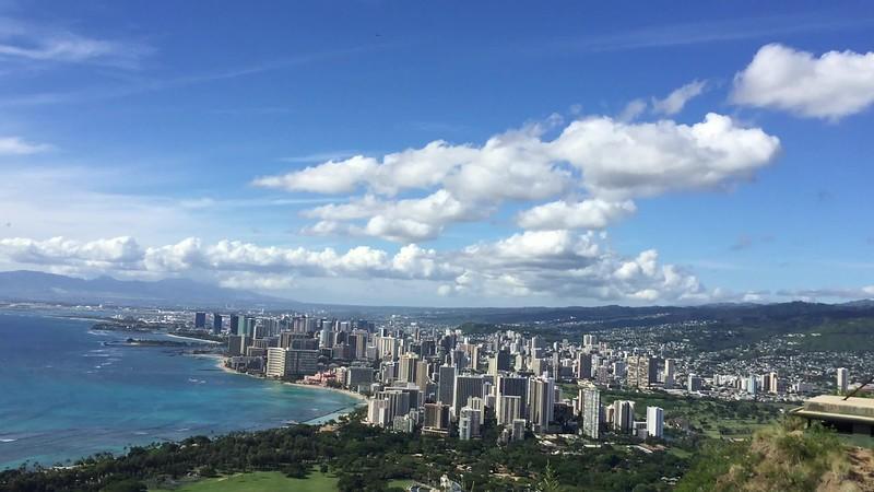 We made it!!  Fabulous view of Waikiki Beach