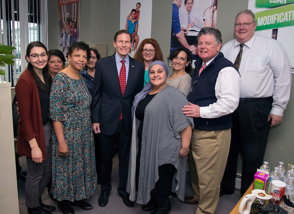 02/07/20 Wesley Bunnell | StaffrrSenator Richard Blumenthal visited Neighbor Works at 223 Arch St on Friday afternoon to announce federal grant money which has been allocated to the program. Senator Blumenthal and the office staff of NHS of New Britain.