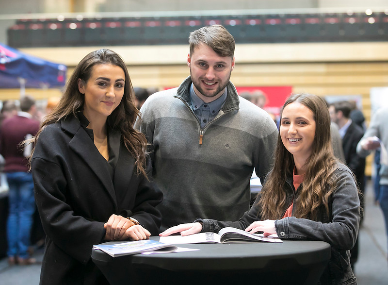 09/03/2019. Pictured at the Waterford Institute of Technology Science Careers Day.  Pictured are Andrea Loughnane, Thurles, Shane Whelan Ballylooby, Cahir and Maria Kennedy Gortnanhoe, Thurles. Picture: Patrick Browne