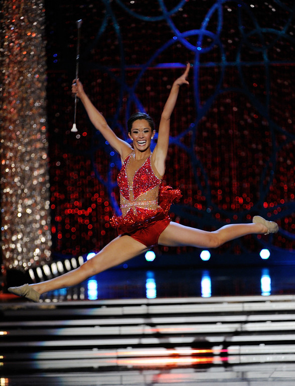 . DaNae Couch, Miss Texas, competes in the talent competition during the 2013 Miss America Pageant at PH Live at Planet Hollywood Resort & Casino on January 12, 2013 in Las Vegas, Nevada.  (Photo by David Becker/Getty Images)