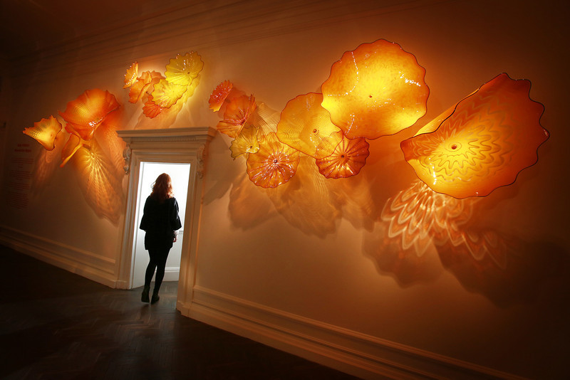 . Dale Chihuly\'s \'Imperial Yellow Persian Wall\' is shown at Halcyon Gallery on February 4, 2014 in London, England. American artist Dale Chihuly has transformed Halcyon Gallery with his distinctive hand-blown glass sculptures. The exhibition at 144 New Bond Street runs from February 8, 2014 - April 5, 2014.  (Photo by Peter Macdiarmid/Getty Images for Halcyon Gallery)