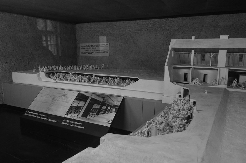 Wider view of the 15 foot long model of Birkinau crematorium II, which was only operational for about 19 months.