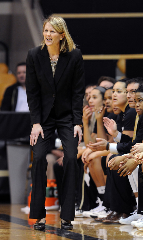 . Colorado head coach, Linda Lappe, reacts to a call during the first half of the January 12, 2014 Stanford game in Boulder. Cliff Grassmick/Daily Camera