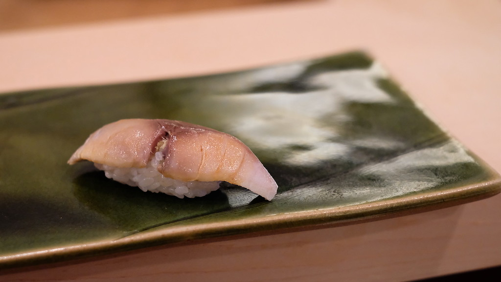 Shime saba, or vinegared mackerel.