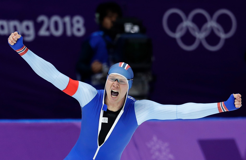 . Gold medalist Havard Lorentzen of Norway celebrates setting a new Olympic record during the men\'s 500 meters speedskating race at the Gangneung Oval at the 2018 Winter Olympics in Gangneung, South Korea, Monday, Feb. 19, 2018. (AP Photo/Petr David Josek)